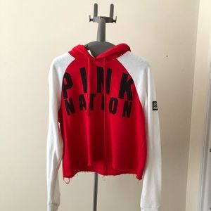 PINK Victoria's Secret Sweaters - red and white cropped sweater
